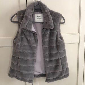 Dylan gray faux fur vest
